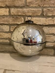 Pottery Barn Ornament Large Candle Pot Silver Christmas Decor Mercury Glass