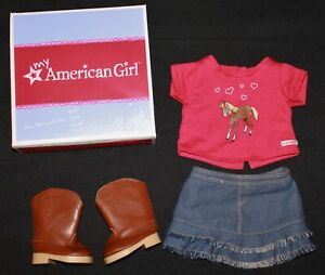 American Girl Doll WESTERN RIDING OUTFIT Red Horse Tee, Brown Boots, Jean Skirt