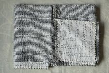 "Indian Handmade Striped Kantha Quilt Block Print Bedspread Twin Size"" Hand-block"