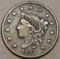 1837 Medium Letters Coronet Head Large Cent as Pictured with too much light