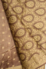 Vintage Indian Pure Tussar Silk Saree Recycle Embroidered Ethnic Home decor