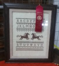 Cross Stitch Sampler, Running Horses, Completed and Framed, Gorgeous
