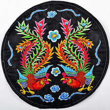 """12"""" FINISHED CHINESE VINTAGE PHOENIX COUPLE QUILT FABRIC EMBROIDERY PATCH PANEL="""