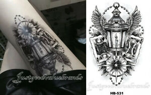 Georgian Lamp Post Of Destiny With Northern Star&Wings Poker Temporary Tattoo