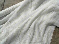 Natural Linen Fabric Lightweight Dressmaking Home Cream Beige Wide Stripe BTY