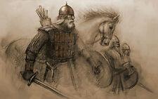Framed Print - Viking Warriors & Horses on the Battlefield (Picture Poster Art)