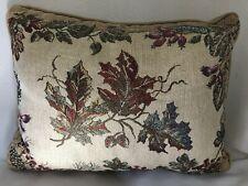 "Fall Autumn Leaves Sparkle Throw Pillow 11x14"" Embroidered Rectangle"