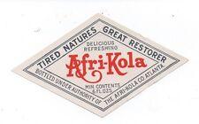 1910 Diamond Shaped Label for Afri- Coca Coca Cola Knock Off
