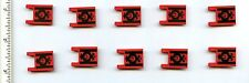 LEGO x 10 Red Flag 2 x 2 Square with Black Lines and Fancy Scroll Pattern 3829