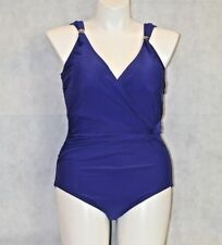 Swimsuits for All PLUS CONTROL One Piece Swimsuit SHIRRED Wrap BLUE NWT 16 W