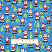 Christmas Fabric - Santa Claus & Trees on Blue - Cotton YARD