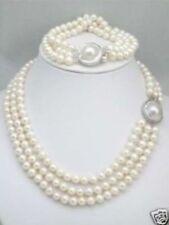triple strands South Sea White Pearl Necklace Bracelet set Mabe Clasp