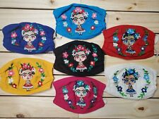 Face Mask Embroidered Frida Kahlo Doll FaceCover Made In Mexico Flower Reusable