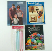 Lot of Vintage Knitting BOOKLETS - How to & Patterns + KNITTING NEEDLES