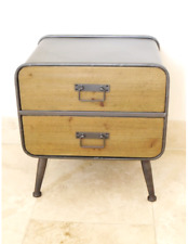 Retro Industrial Storage bedside Cabinets Coffee Table with 2 draws Furniture