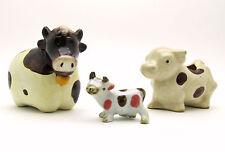 Brown Ceramic Cow Lot, Vintage Figurines, Salt Pepper Shaker, Toothpick Holder