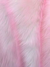 "Faux Fur fake White With Pink Frosted tips fabric 60"" Wide sold by the yard"