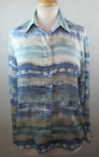 ALFRED DUNNER WOMENS 8 MEDIUM M BUTTON DOWN SHIRT TOP BLOUSE SILKY MULTI COLORED