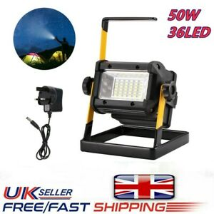 LED Rechargeable 50W 36LED Mobile Portable Work Site Flood Light Fishing Camping