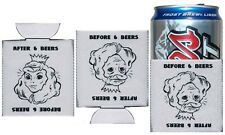 Set of 2 Before & After Many Beers Goggles Beautiful Ugly Lady Beer Koozies Gag