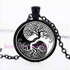 Ying yang Tree of Life Photo  Cabochon Glass Black Chain Pendant Necklace