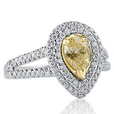 1.19 Carat Yellow Pear Shaped Diamond Engagement Ring 14k White Gold Split Shank