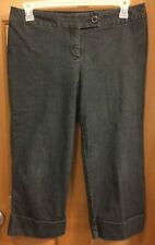 Pierre Cardin Mid Calf Cropped  Cuffed Black Pants Misses Size 12 Petite
