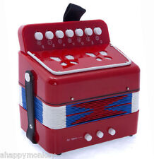 🎁Great Gift🎁 Accordion Red 7 Button 2 Bass Kid Music Instrument *Special*