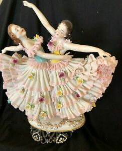 Beautiful,Dresden,Lace,Collectible,Volkstedt,ballet,dancer,flower,victorian,lady