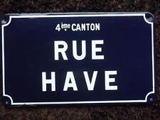 French Blue Enamel Street Sign Rue Have Riems ORIGINAL Heavy Guage 2.5Kg c1960