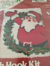 VTG 1980 National Yarn Latch Hook Rug Kit Christmas Santa Wreath 18x24 Sealed