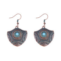 Vintage Carved Copper Turquoise Drop Dangle Ethnic Gypsy Women Tribal Earrings