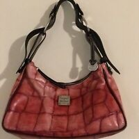 Authentic Dooney Bourke Red Embossed Animal Print Leather HOBO Shoulder Bag