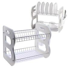 2Tier Dish Drainer Rack Storage Drip Tray Sink Drying Draining Plate Bowl Holder