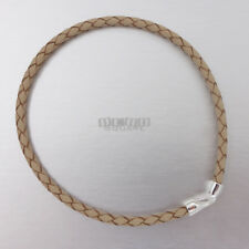 "SALE 8"" Sterling Silver 3mm Beige Braided Leather Cord Bangle / Bracelet, Hook"