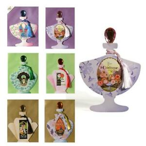 6 Art Deco Perfume Bottle Cards with Gemstone Stoppers & Silky Tassel (EW)