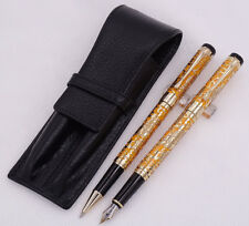 Jinhao Dragon Texture Carving Fountain Pen & Roller Pen & Black Leather Pen Case