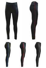 Damen Leggings Leder Hose Schwarz seitlichen Glitzer Kontrast Streifen  P1813