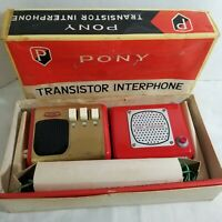 Vintage 1960s Pony Co Transistor Interphone Intercom System Red Metal MCM Japan