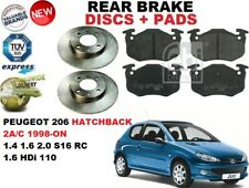 PER PEUGEOT 206 Hatchback 1.4 1.6 2.0 SET DISCHI FRENI POSTERIORI + PASTIGLIE