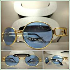 Classy Sophisticated Vintage Retro Style SUN GLASSES Gold Metal Frame Blue Lens