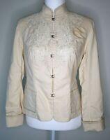 Womens Reba Cream Light Weight Country Western Embroidered Jacket/Blazer SZ 4