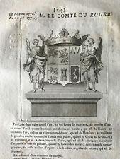 Blason ARMORIAL Languedoc Gastelier de la tour M. Le Comte de Roure De Beauvoir