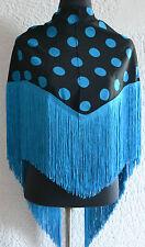 "Spanish Flamenco black shawl  with blue polka dots & fringe 57""x 34"" 145 x 86cm"