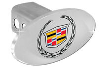 """Cadillac Logo Chrome Plated Oval Trailer Tow Hitch Cover Plug Cap 2"""" Post OEM"""