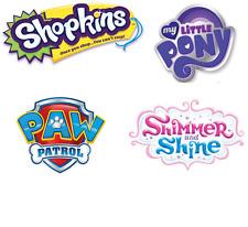 Paw Patrol, Shopkins Mi Pequeño Pony, brillo y brillo ningún logotipo Max 10x10cm