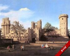 WARWICK CASTLE ENGLAND BRITISH HISTORY PAINTING CANALETTO ART REAL CANVAS PRINT
