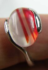 #5 Brazil 100%  Natural Oval Cabochon Agate Carnelian Ring Size 7.5