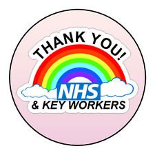 Thank You NHS Keyworkers Stickers Labels Pink Ombre Sweet Cones Gifts Seals