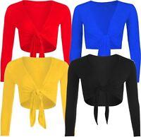 New Ladies Plain Long Sleeve Cropped Tie Knot Cardigan Bolero Shrugs Top 8-14
